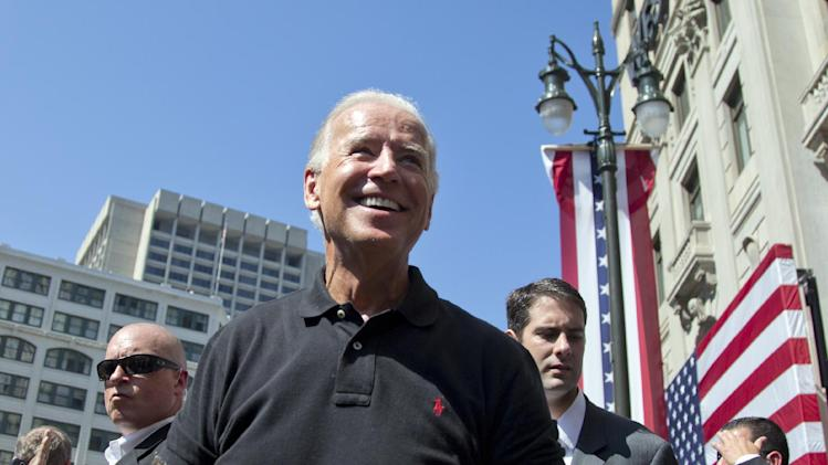 Vice President Joe Biden smiles after speaking at the Metro Detroit AFL-CIO Labor Day Rally, Monday, Sept. 3, 2012, in Detroit. (AP Photo/Carolyn Kaster)