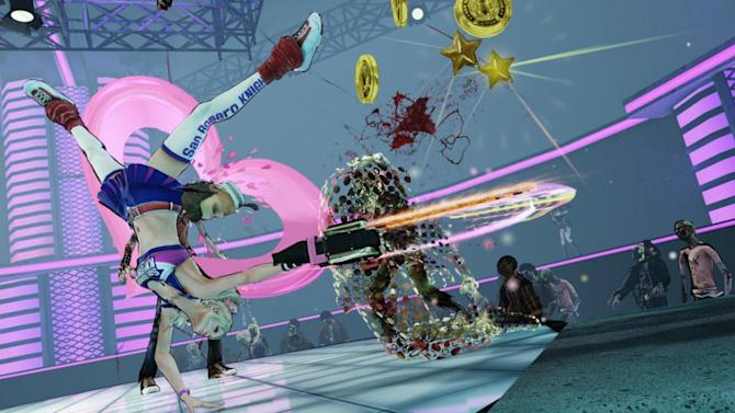 """This video game image released by Warner Bros. shows a high school cheerleader zombie slayer in """"Lollipop Chainsaw."""" (AP Photo/Warner Bros.)"""