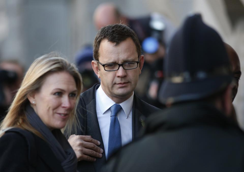 Former News of the World editor Andy Coulson arrives at the Central Criminal Court in London, Tuesday, Oct. 29, 2013. Coulson stands trial alongside others and all deny conspiracy to intercept mobile phone voicemail messages. (AP Photo/Lefteris Pitarakis)
