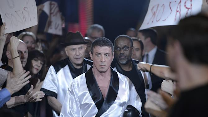 """This image released by Warner Bros. Pictures shows Sylvester Stallone as Henry """"Razor"""" Sharp, center, and Alan Arkin as Louis """"Lightning"""" Conlon, center left, in a scene from """"Grudge Match."""" (AP Photo/Warner Bros. Pictures, Ben Rothstein)"""
