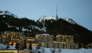 A night view shows the Kulm Hotel in the Swiss mountain resort of St. Moritz