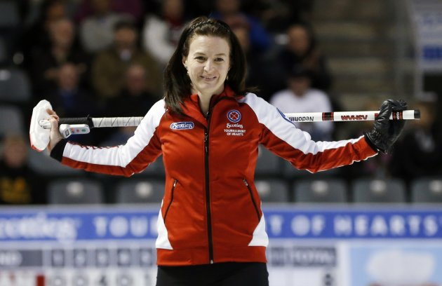 Team Canada skip Nedohin reacts to losing against British Columbia during their bronze medal game at the Scotties Tournament of Hearts curling championship in Kingston
