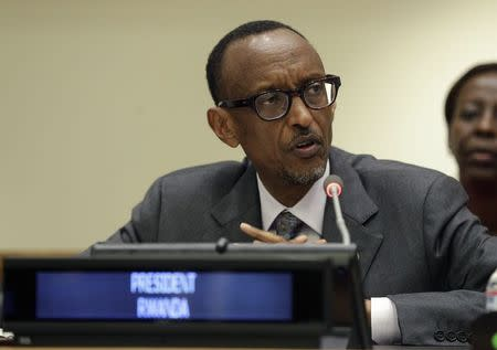 Kagame addresses a high-level summit during the 69th session of the United Nations General Assembly in New York