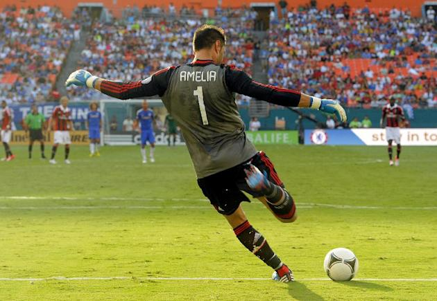 COMMERCIAL IMAGE - In this photograph taken by AP Images for Herbalife, A.C. Milan goalie Marco Amelia puts the ball in play against Chelsea FC at the Herbalife World Football Challenge, Saturday, Jul