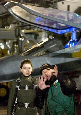 Jessica Biel and director Rob Cohen on the set of Columbia Pictures' Stealth