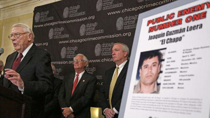 In this Feb. 14, 2013 photo, Art Bilek, executive vice president of the Chicago Crime Commission, left,  announces that Joaquin ``El Chapo'' Guzman, a drug kingpin in Mexico, has been named Chicago's Public Enemy No. 1, during a news conference in Chicago. Looking on is Jack Riley, right, head of the Drug Enforcement Administration in Chicago and Peter Bensinger, former Administrator of the United States DEA. Ruthless drug cartels have long been the nation's No. 1 supplier of illegal drugs, but in the past, their operatives rarely ventured beyond the border. A wide-ranging Associated Press review of federal court cases and government drug-enforcement data, plus interviews with many top law enforcement officials, indicate the groups have begun deploying agents from their inner circles to the U.S. (AP Photo/M. Spencer Green)