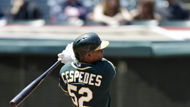 Cespedes drives in 5 as A's sweep Indians 13-3