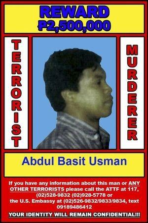 Handout photograph released by US embassy in Manila shows a wanted poster for Abdul Basit Usman