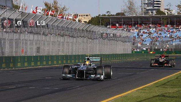 Mercedes Formula One driver Lewis Hamilton of Britain drives during the second practice session of the Australian F1 Grand Prix at the Albert Park circuit in Melbourne (Reuters)
