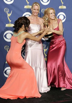"Eva Longoria, Nicollette Sheridan and winner Felicity Huffman of ""Desperate Housewives"" 57th Annual Emmy Awards Press Room - 9/18/2005"