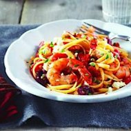 This pasta dish will be popular with Greek salad lovers, and shrimp can easily be substituted for chicken.