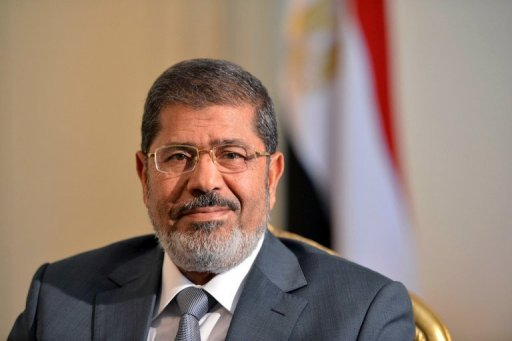 Egypt&#39;s new president, Mohamed Morsi, pictured on July 8, arrived in Saudi Arabia on Wednesday for his first foreign trip since taking office and met with King Abdullah, the official SPA news agency said