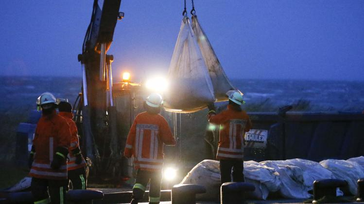 Firefighters reinforce a dyke at the North Sea with sandbags in Sahlenburg, near Cuxhaven