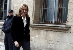 Spain's Princess Cristina, daughter of King Juan Carlos, arrives at a courthouse to testify before judge Castro over tax fraud and money-laundering charges in Palma de Mallorca