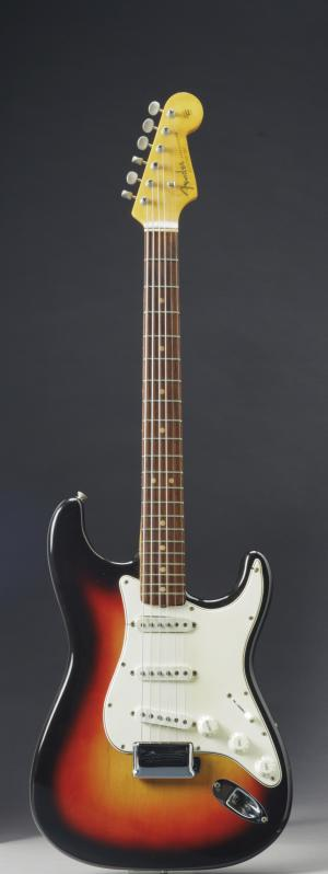 This undated photo provided by Christie's shows the Fender Stratocaster a young Bob Dylan played at the historic 1965 Newport Folk Festival. On Dec. 6, 2013, it could bring as much as half a million dollars when it comes up for auction at Christie's New York. The festival marked the first time Dylan went electric, a defining moment that marked his move from acoustic folk to electric rock and roll, drawing boos from folk-music purists. (AP Photo/Christie's)