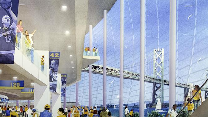 This artist's rendering provided by the Golden State Warriors shows the interior of their new waterfront basketball arena in San Francisco. The Warriors unveiled plans Tuesday to build an arena at Piers 30-32. The waterfront site near the San Francisco-Oakland Bay Bridge is just blocks from the San Francisco Giants' ballpark and the downtown financial district. The arena is expected to be completed by 2017. (AP Photo/Golden State Warriors)