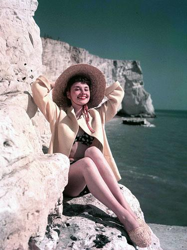 Audrey Hepburn by the beach, 1951