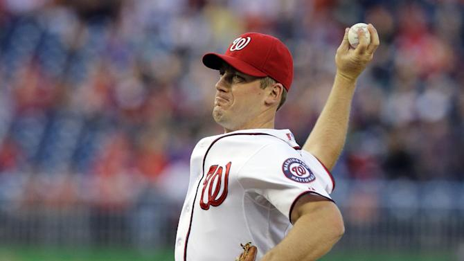 Washington Nationals starting pitcher Jordan Zimmermann throws during the first inning of a baseball game against the Cincinnati Reds at Nationals Park, Friday, April 26, 2013, in Washington. (AP Photo/Alex Brandon)