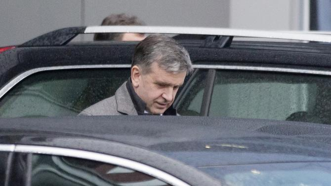 Russian Ambassador to Ukraine Mikhail Zurabov after arriving at Minsk's International Airport