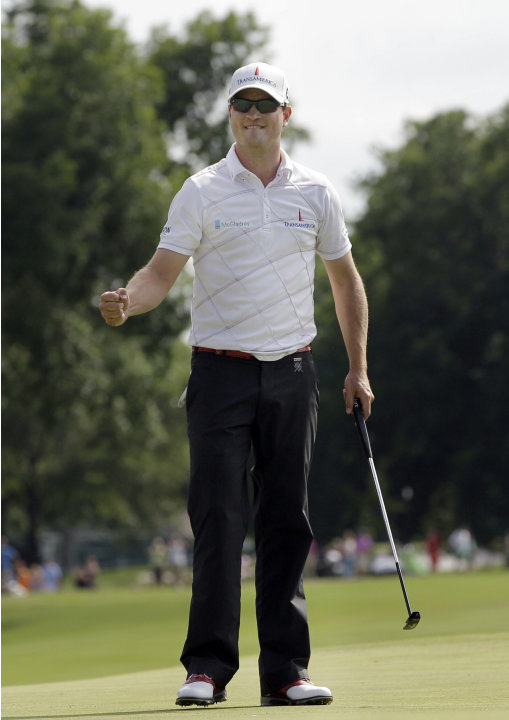 FILE - In this May 27, 2012, file photo, Zach Johnson pumps his fist after winning the Colonial golf tournament in Fort Worth, Texas. Johnson has won two of the last three Colonials. A trip to Hogan's