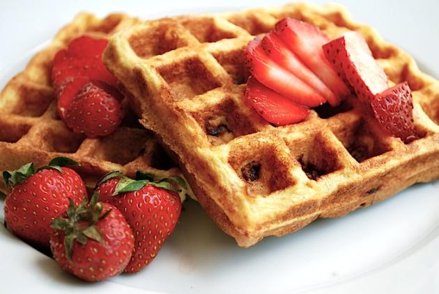 Cornmeal Buttermilk Waffles with Strawberries