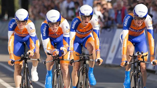 Team Rabobank from the Netherlands crosses the finish line during the men&#39;s team time trial at the UCI Road World Championships in Valkenburg (Reuters)