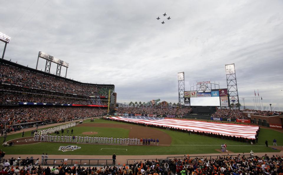Jets do a flyover before the start of Game 1 of baseball's World Series between the San Francisco Giants and the Texas Rangers Wednesday, Oct. 27, 2010, in San Francisco. (AP Photo/Eric Risberg)