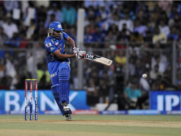 Rohit sharma captain of Mumbai Indians bats during match 62 of the Pepsi Indian Premier League ( IPL) 2013  between The Mumbai Indians and the Sunrisers Hyderabad held at the Wankhede Stadium in Mumba