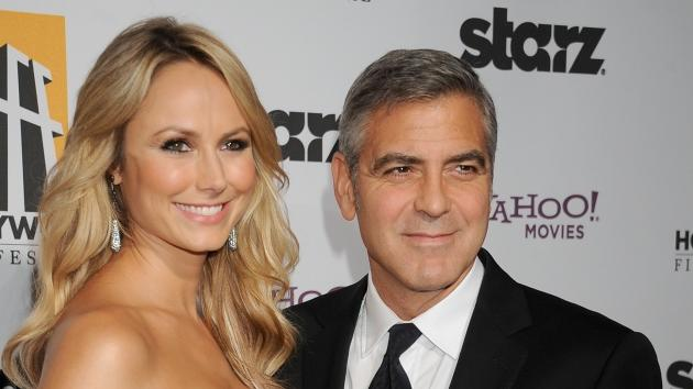 Stacy Keibler and George Clooney arrive at the 15th Annual Hollywood Film Awards Gala Presented By Starz at the Beverly Hilton Hotel on October 24, 2011 -- FilmMagic