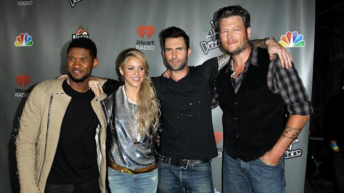 """From left, Usher, Shakira, Adam Levine, and Blake Shelton arrive at """"The Voice"""" season 4 red carpet event at the House of Blues on Wednesday, May 8, 2013 in Los Angeles. (Photo by Matt Sayles/Invision/AP)"""