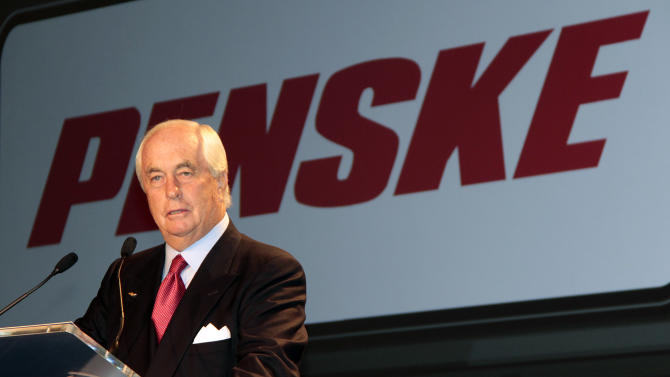 Roger Penske, Founder and Chairman of Penske Corporation, and Chevrolet announces a multi-year agreement with the Penske Corporation and IndyCar to bring professional motorsports to the Motor City for the first time in four years during a news conference at GM headquarters on Wednesday, Oct. 12, 2011, in Detroit. The first Chevrolet Detroit Belle Isle Grand Prix will be held June 1-3, 2012 at the picturesque 2.1-mile Raceway at Belle Isle Park road course. (AP Photo/Jerry S. Mendoza)