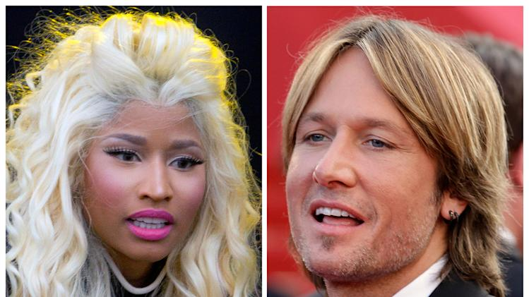 "This photo combination shows musicians Nicki Minaj, left, and Keith Urban. The ""American Idol"" judges' panel is now complete with the naming of singer-rapper Minaj and country crooner Urban. The Fox network officially tapped the pair with an announcement Sunday, Sept. 16, 2012, just hours before the first round of judging for next season was due to begin in New York. (AP Photo)"