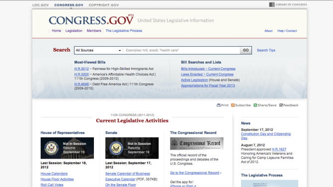 This image provided by the Library of Congress, shows a new search engine to help researchers and students find bills that may become new laws.  The Library of Congress is unveiling the new website Congress.gov in beta form to eventually replace its THOMAS system. It's Congress' first new search engine since THOMAS launched in 1995 when the Internet was in its infancy.  (AP Photo/Library of Congress)