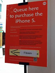 Customers are told to wait at least five hours to collect their iPhone 5. (Photo courtesy of Stephanie Chua)