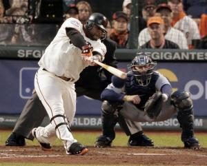 Sandoval's 3 HRs lead Giants to 8-3 romp in opener