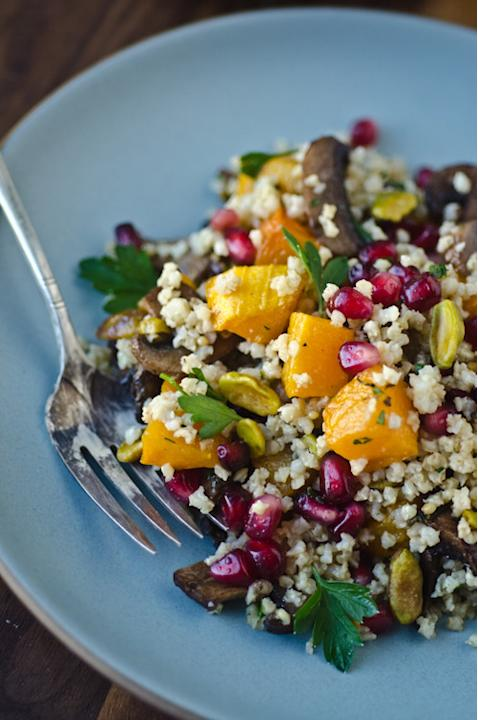 Millet Pilaf with Butternut Squash, Mushrooms, and Pomegranate