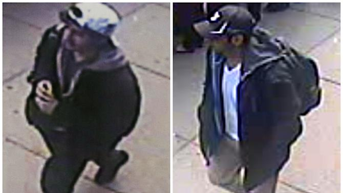 This combination of images released by the FBI on Thursday, April 18, 2013, show two images taken from surveillance video of who the FBI are calling suspect number 2, left, in white cap, and suspect number 1, right, in black cap, as they walk near each other through the crowd before the explosions at the Boston Marathon on Monday, April 15, 2013.  (AP Photo/FBI)