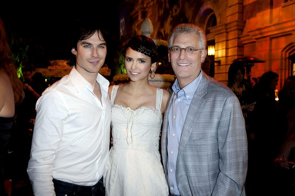 "Ian Somerhalder and Nina Dobrev of ""The Vampire Diaries"" with Mark Pedowitz (President, The CW Network) at The CW Fall Premiere party presented by Bing at Warner Bros. Studios on September 10, 2011 in Burbank, California."