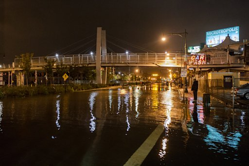 Photo showing West Side Highway underwater from Hurricane Sandy