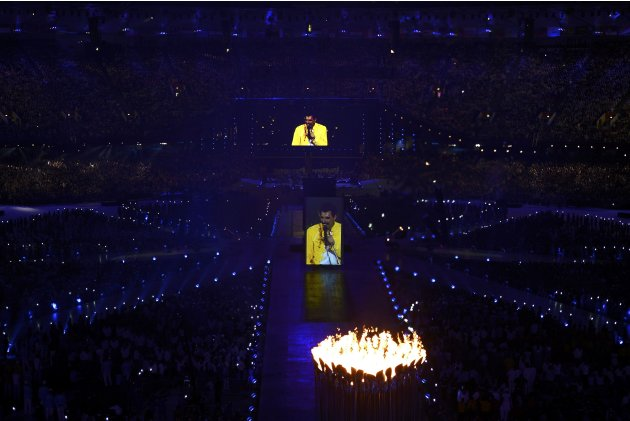 A video of singer Freddie Mercury is seen on screen during closing ceremony of London 2012 Olympic Games at Olympic Stadium