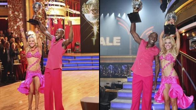 Donald Driver and Peta Murgatroyd celebrate winning 'Dancing with the Stars' Season 14, May 22, 2012 -- ABC