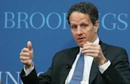 US Treasury Secretary Timothy Geithner is pictured on April 18. The United States pressed China Saturday to make progress on its recently announced currency reform to make the yuan more flexible, calling it key to healthy global economic growth