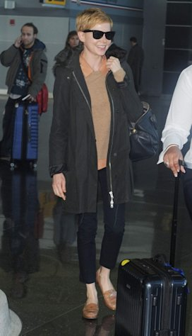 Michelle William arrives at JFK airport on February 7, 2012 in New York City -- Getty Images