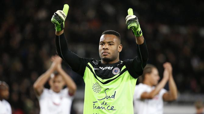 Montpellier's goalkeeper Ligali reacts after their draw with Paris Saint Germain in their French Ligue 1 soccer match at Parc des Princes stadium in Paris