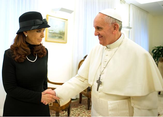 In this photo provided by the Vatican paper L'Osservatore Romano, Pope Francis meets Argentine President Cristina Fernandez at the Vatican, Monday, March 18, 2013. Pope Francis' diplomatic skills were