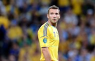 Ukrainian legend and team captain Andrei Shevchenko, pictured on June 15, is a doubt for his side's crucial final Euro 2012 Group D game against England on Tuesday after he was unable to train on Sunday because of a knee problem