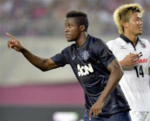 Manchester United's Wilfried Zaha celebrates after scoring during friendly match against Cerezo Osaka in Osaka