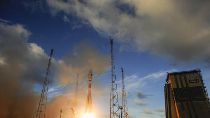 This image publicly provided by the European Space Agency ESA, shows Sentinel-1A satellite as it lifts off from Europe's Spaceport in Kourou, French Guiana, on Thursday, April 3, 2014. ESA said Friday, April 4, 2014, it has successfully launched the first in a series of satellites that will form the nucleus of its new Copernicus monitoring system, which is aimed at providing better and quicker information about natural disasters and other catastrophes. (AP Photo/European Space Agency, ESA/Stephane Corvaja) MANDATORY CREDIT