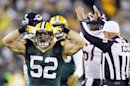 Green Bay Packers' Clay Matthews (52) reacts after sacking Chicago Bears' Jay Cutler during the first half of an NFL football game Thursday, Sept. 13, 2012, in Green Bay, Wis. (AP Photo/Mike Roemer)