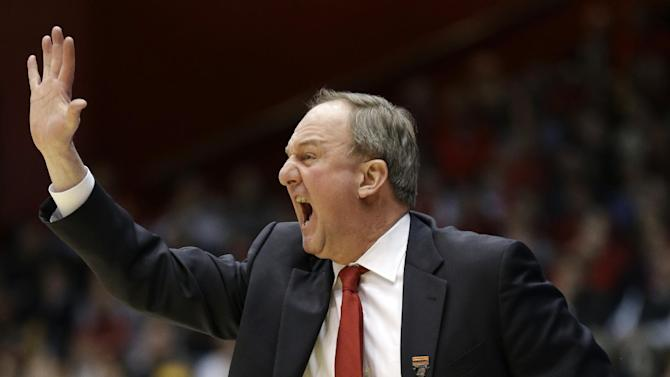 FILE - Ohio State head coach Thad Matta calls a play against Iowa State in the first half of a third-round game of the NCAA college basketball tournament in this March 24, 2013 file photo taken in Dayton, Ohio.  (AP Photo/Al Behrman, File)
